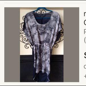 RAG & BONE silk 6 hi lo dress gray graphic print